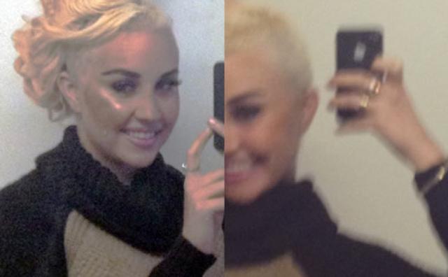 Amanda Byne shaved head